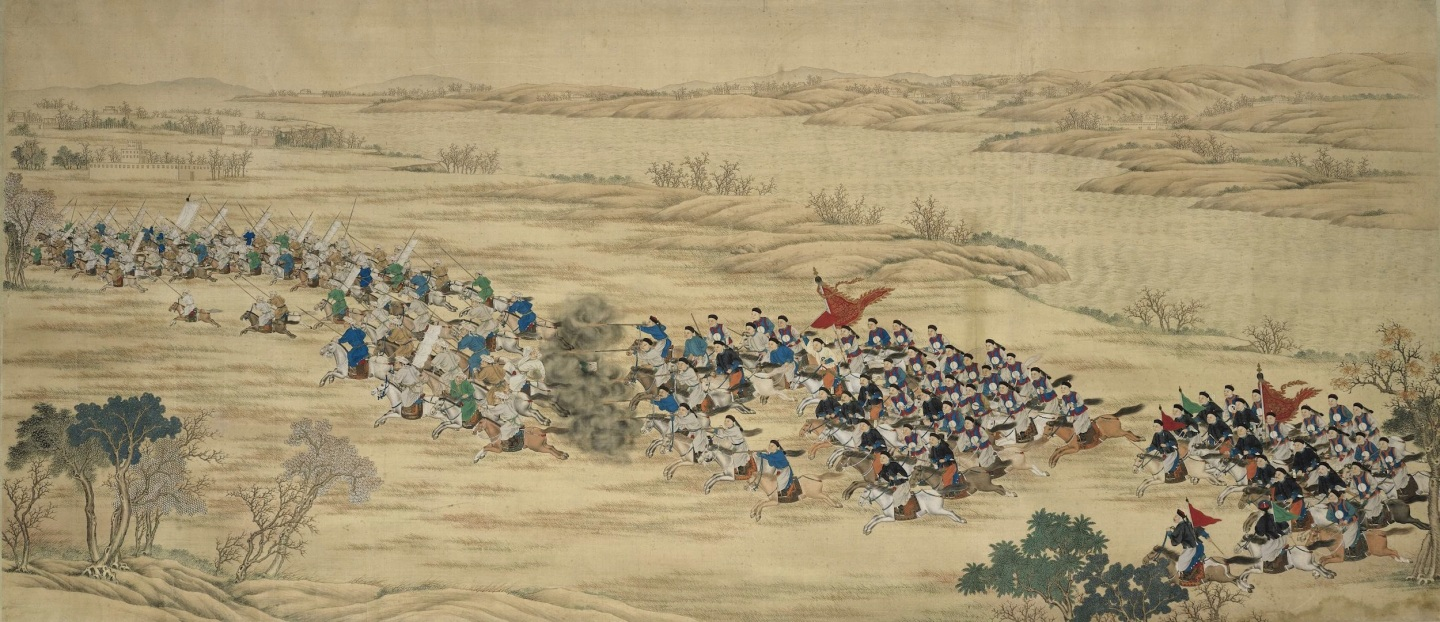 Battle scene between the Qing Imperial Army and the rebel forces of the Muslim Rebellion in the northwest of China from 1862 to 1877